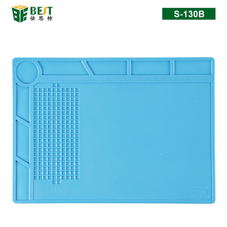 BST-S-130B 耐高温硅胶垫 工作台垫 带八格零件收纳 螺丝记忆定位区 隔热垫